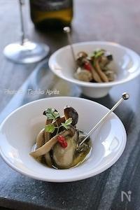 牡蠣のジェノバ風アヒージョ