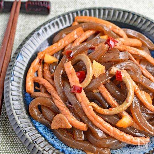 山菜水煮と糸こんの甘辛炒め