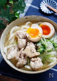 『鶏白菜のうま塩うどん【#包丁不要 #解凍不要 #ランチ】』