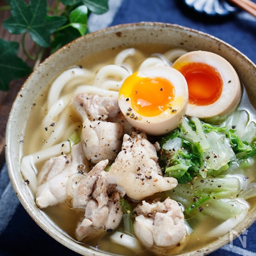鶏白菜のうま塩うどん【#包丁不要 #解凍不要 #ランチ】
