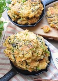 『栄養満点♡まさに旨味の共演♡小松菜とじゃこのごはんお焼き♡』