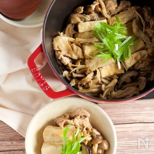 【だし・水なし】きのこ肉豆腐
