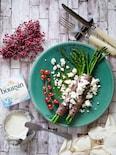 牛肉のアスパラロールソテー ブルサンとヴィネグレットソース