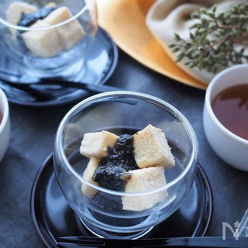 ヘルシスイーツ♡もちもち豆腐の黒ごまソースがけ