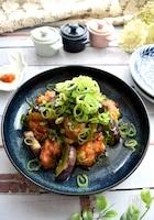ネギたっぷりがおいしい~鶏肉と茄子の甘酢漬け