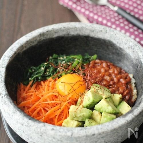 納豆とアボカドの石焼きビビンバ