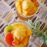 冷凍フルーツで♪ 『マンゴーとオレンジのアイスクリーム』