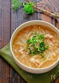 『柔らか鶏肉ともやしの味噌ラーメン風とろみ春雨スープ』