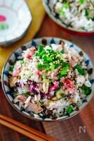 『焼鯖と梅干しの香ばしごはん』鯖缶で♪ご飯に混ぜて簡単♪