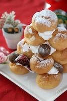 クリスマスに子供と一緒に作る♡簡単かわいいシューツリーケーキ