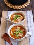 鶏肉ともやしとしめじの旨だし味噌スープ