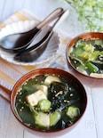 優しい味*オクラと豆腐のわかめスープ