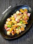 残った食材をサイコロ切りで食べる海老、ポテ、ベーコン炒め