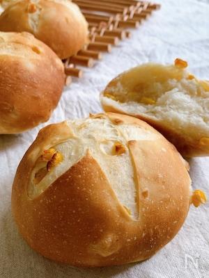 コーン缶まるまる使用!コーンの優しい甘味がやみつきコーンパン