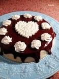 バレンタインに♪白いバニラスポンジと生チョコのケーキ