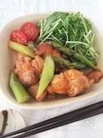 鶏もも肉とアスパラのエビマヨ風味炒め