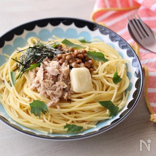 ツナ納豆スパゲティ