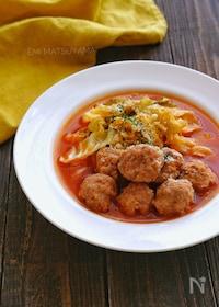 『食べたらロールキャベツ?豚団子とキャベツのスープ煮』