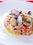 炊いたご飯から作る!簡単アサリとトマトの雑穀米リゾット☆