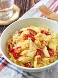 春色♪炒り卵とキャベツとミニトマトの彩りサラダ