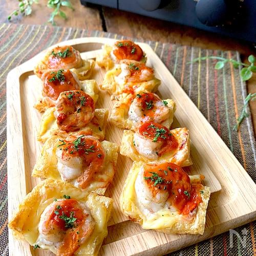 トースターでひとくちおつまみ〝お揚げとエビのチーズ焼き〟