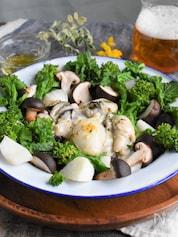 牡蠣と菜の花のフライパン蒸し
