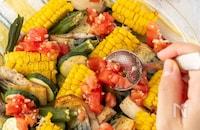 塩トマトソースで美味しい!夏野菜とサバのグリル