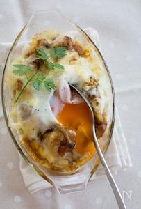 『落とし卵の焼きチーズカレードリア』#リメイク#簡単