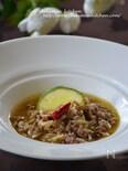 挽肉とドライトマトのスープリゾーニ