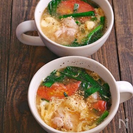 鶏肉とトマトのにら卵とろみスープ