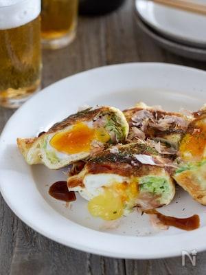 お好み焼き風チーズきんちゃく卵