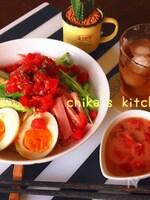 いつものタレに一手間で♪野菜も美味しい食べるトマごまつゆ♡