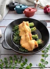 豆苗とちくわの明太マヨネーズ焼き