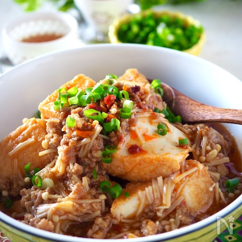 レンジで簡単!豚ひき肉100gえのきでカサ増し厚揚げピリ辛煮