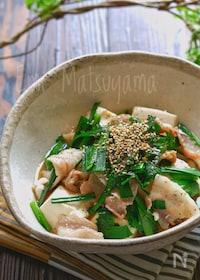 『レンジで簡単!スタミナニラ豚豆腐』