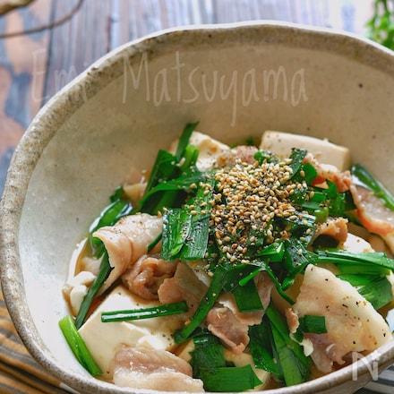 レンジで簡単!スタミナニラ豚豆腐