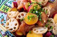 【タレでご飯おかわり!】さつま芋とれんこんと豚肉の甘味噌炒め