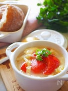 【時短メニュー】忙しい朝に丸ごとトマトのトマトグラタンスープ