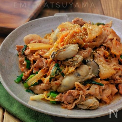 *牡蠣と豚肉のキムチ炒め*