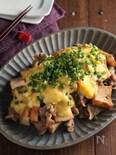 豚こまと厚揚げの甘辛炒めにレンチンふわとろ卵あんかけ。