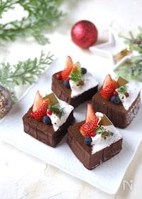 『フライパンで簡単!クリスマスチョコケーキ【型・オーブン不要】』