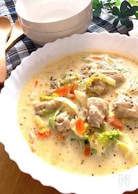 『豆乳でヘルシー&チーズでコクあり♡鶏肉と白菜のクリーム煮』