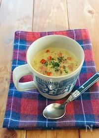 『マグカップで作る豆乳カレースープごはん』