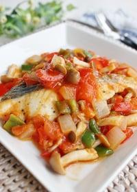『白身魚のラタトゥイユ、軽い煮込み』