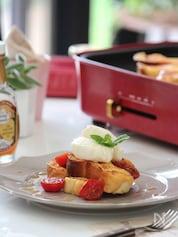 トマト&チーズのメープルフレンチトースト。