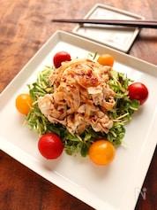 豆苗と豚しゃぶのピリ辛サラダ