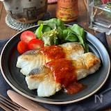 鱈のムニエルガーリックトマトソース