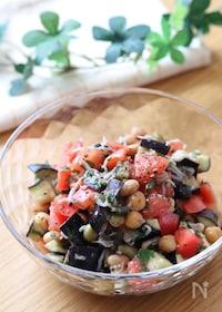 『スプーンでモリモリ食べられる♡和洋折衷なすとトマトのサラダ』