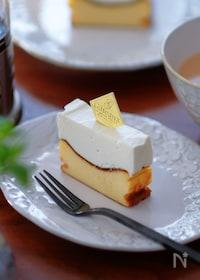 『ミキサーで混ぜるだけ!バスク×レア、2層のバスレチーズケーキ』