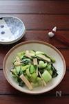 調味料1つ。主材料2つ。青梗菜とかまぼこのオイスター炒め